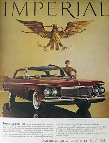 1961 Chrysler Imperial Crown Ad ~ Carefully Built