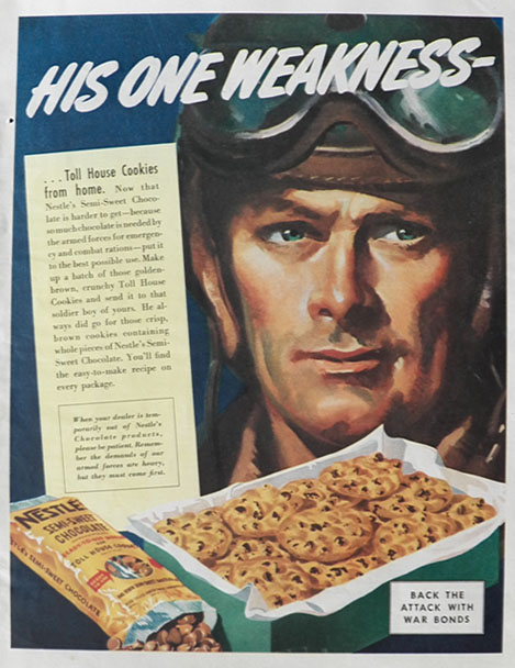1943 Nestles Chocolate Chips Ad ~ His One Weakness ...