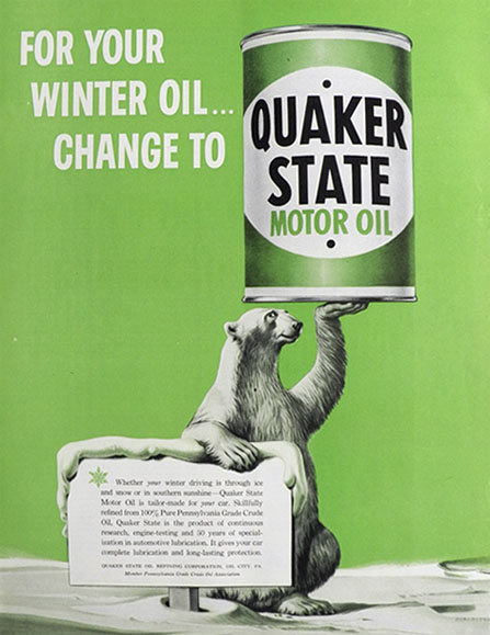 1953 Quaker State Motor Oil Ad ~ Durenceau Polar Bear