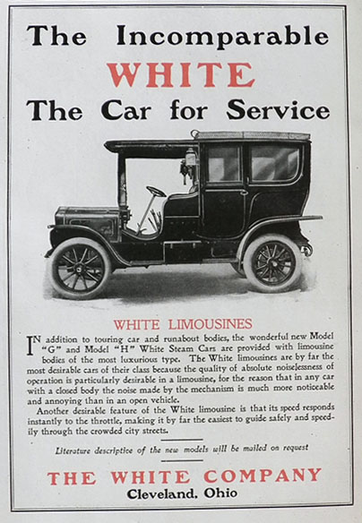 1907 White Limousine Ad ~ The Car For Service