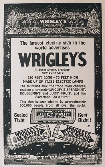 1920 Wrigley's Gum Ad ~ Times Square Electric Sign
