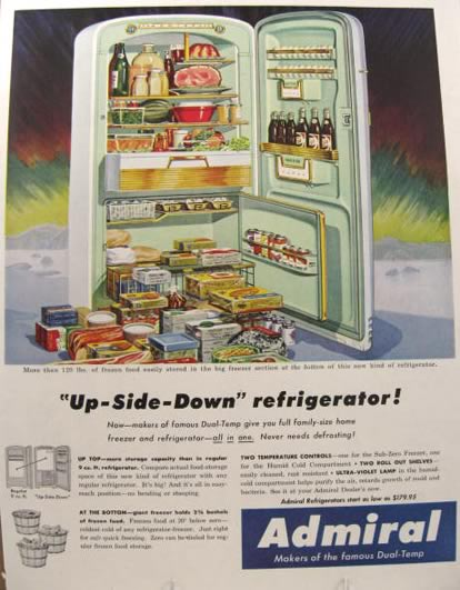1954 Admiral Upside Down Refrigerator Ad