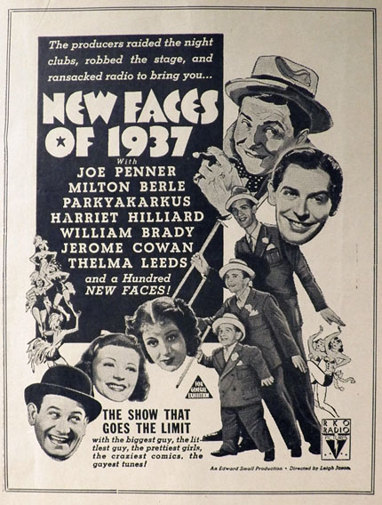 1937 Milton Berle, Joe Penner Movie Ad ~ New Faces of 1937