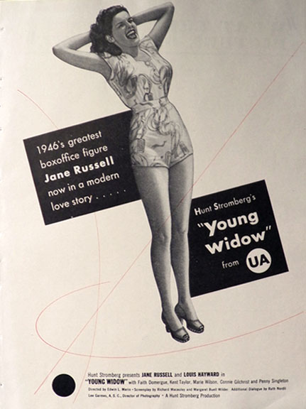 1946 Jane Russell Movie Ad ~ Young Widow