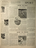 How to Bat, Pitch & Catch ~ Cochrane, Waner, Pennock 1929 Baseball Article, Photos