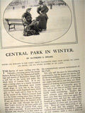 1900 Central Park in Winter ~ Old Magazine Article w/ Photos