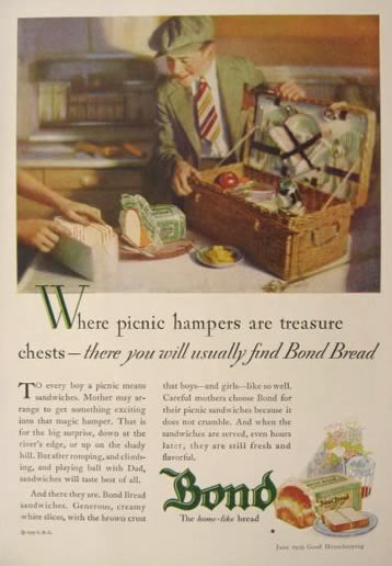 1929 Bond Bread Ad ~ Vintage Wicker Picnic Basket