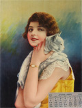 1923 Roaring 20's Style Woman Holds White Cat ~ Antique Print, Calendar Sample