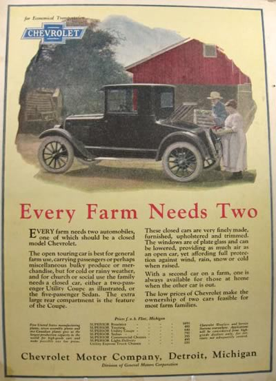 1924 Chevy Utility Coupe Ad ~ Every Farm Needs One