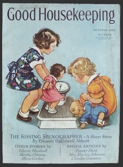 1935 Good Housekeeping Magazine Cover ~ Kids Weigh Dolls