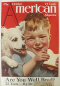 1921 The American Magazine Cover ~ Norman Rockwell ~ Dog Wants Boy's Sandwich