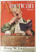 1921 The American Magazine Cover ~ Norman Rockwell ~ Sleepy Scholar