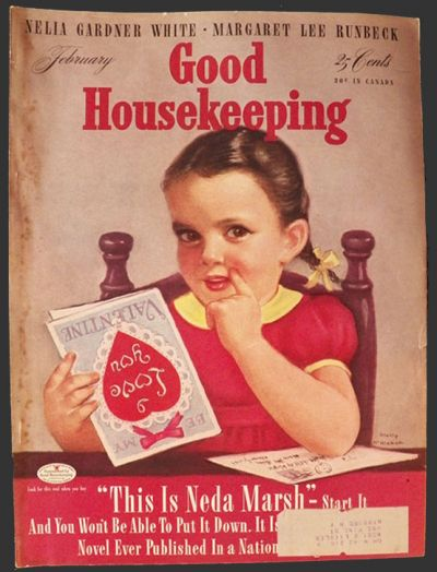 1942 Good Housekeeping Magazine Cover ~ Girl with Valentine, Vintage ...