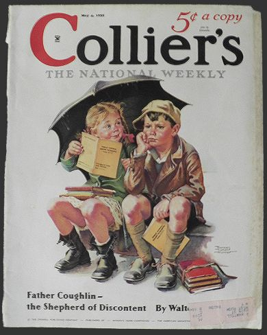 1935 collier s magazine cover kids get report card vintage