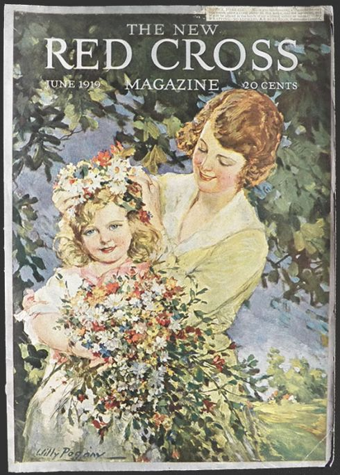 1919 Red Cross Magazine Cover Child With Flowers