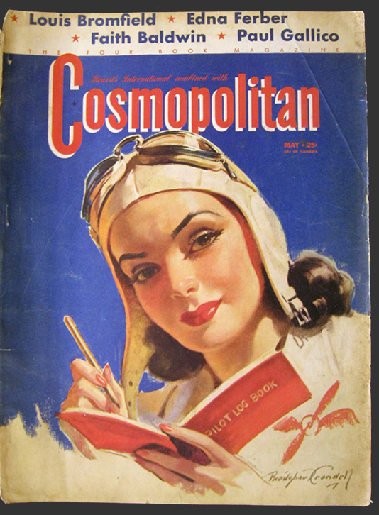 1941 cosmopolitan magazine cover bradshaw crandell lady for Old magazines