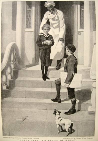 1907 Cream of Wheat Ad ~ George Gibbs ~ Boy on Steps with Dog
