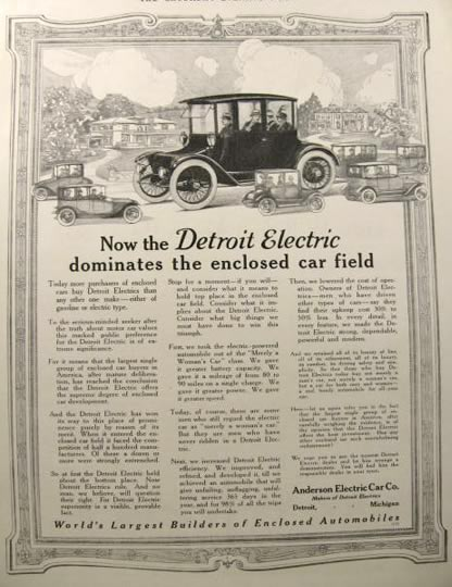 1916 Detroit Electric Automobile Ad ~ Enclosed Car Domination