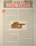 1896 American Textile Machinery ~ Illustrated Article