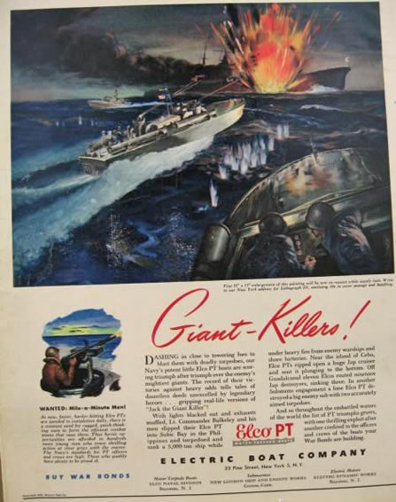 1943 Elco PT Boat Ad ~ Giant Killers