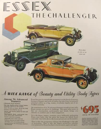 1929 Essex Challenger Ad ~ Wide Range of Body Types