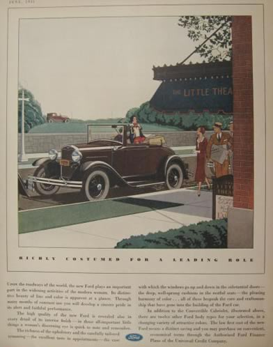 1931 Ford Cabriolet Convertible Ad ~ Little Theatre