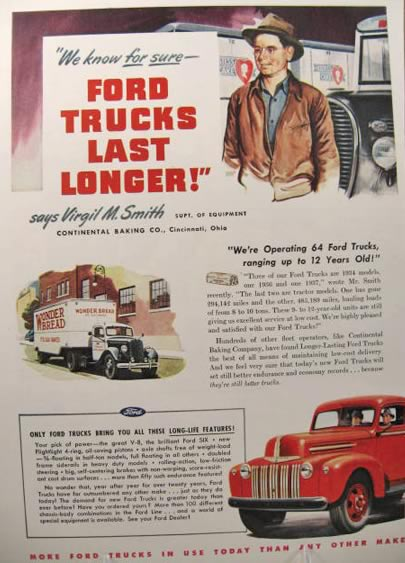 1947 Ford Truck Ad ~ Wonder Bread