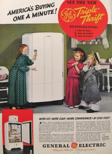 1937 GE Triple Thrift Refrigerator Ad Kids Play Dress Up