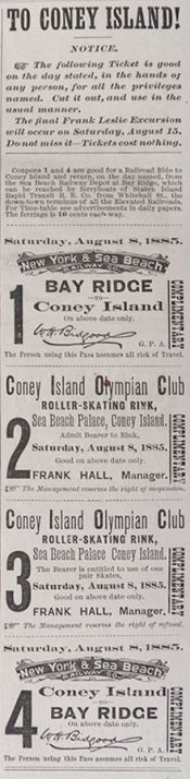 1885 Coney Island Tickets ~ Railroad & Skating Rink Pass