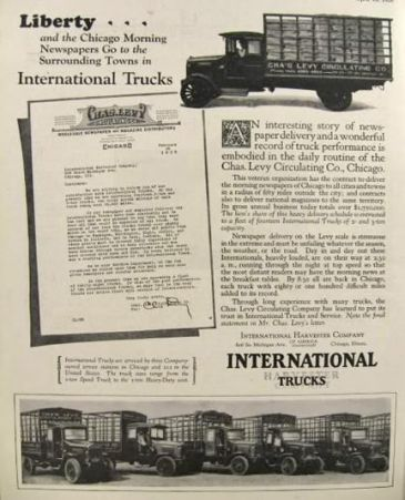1926 International Harvester Truck Ad ~ Charles Levy Chicago