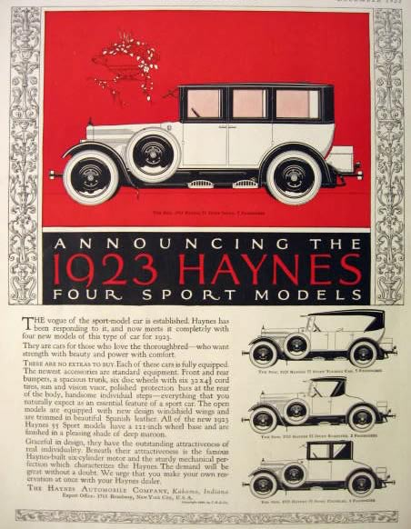 1923 Haynes Automobile Ad ~ 4 Sport Models