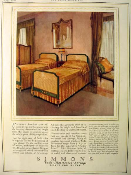 1923 Simmons Bed & Mattress Ad ~ Maize & Green Bedroom