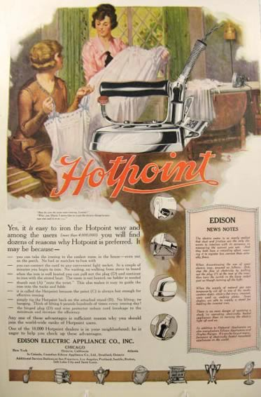 Electric Iron 1920s ~ Hotpoint electric iron ad r g jones art vintage
