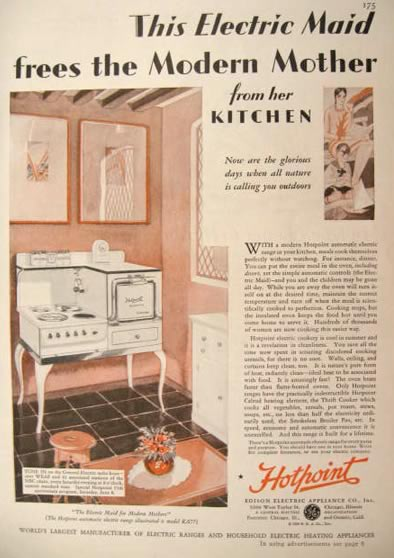 1929 Hotpoint Oven Range Ad ~ Electric Maid