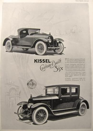 1920 Kissel Custom Built Six Ad ~ 2 Models