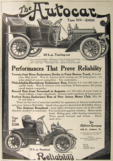 1907 Autocar Ad ~ 30 HP Touring Car, 12 HP Runabout