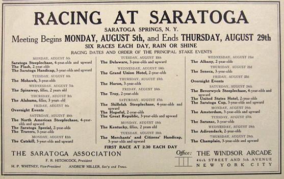 1907 Saratoga Horse Racing Schedule Ad, Vintage Ads (Misc)