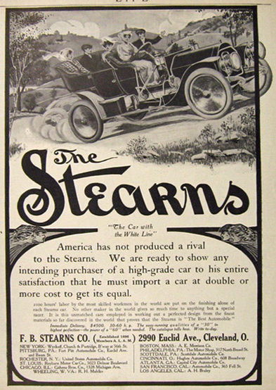 1907 Stearns Auto Ad ~ The Car with the White Line