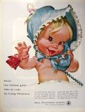 1961 Bell Telephone Ad ~ Baby with Bonnet