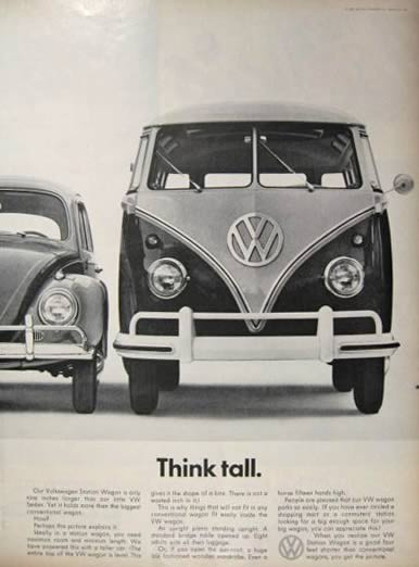 1961 Volkswagen Station Wagon Bus Ad ~ Think Tall