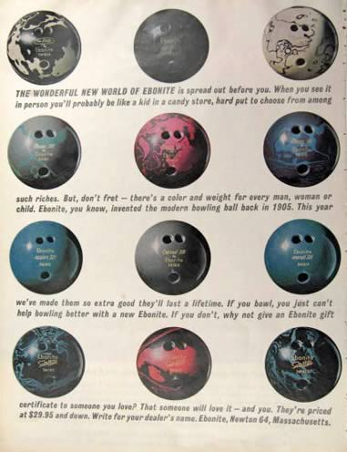 1962 Vintage Ebonite Bowling Ball Ad Vintage Sporting Goods Other