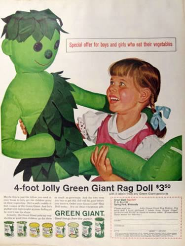 1962 Green Giant Vegetables Ad ~ Giant Rag Doll