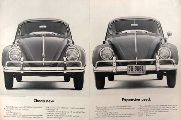 1962 Volkswagen Beetle Ad ~ Cheap New, Expensive Used, Vintage Magazine Ads