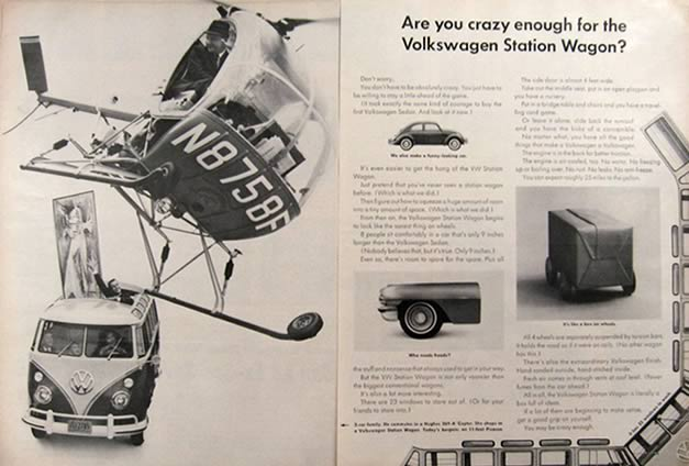 1962 VW Volkswagen Bus Ad ~ Hughes 269-A Helicopter