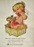 1963 Bell Telephone Ad ~ Baby in Dollhouse