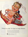1963 Bell Telephone Long Distance Ad ~ Baby on Flying Carpet