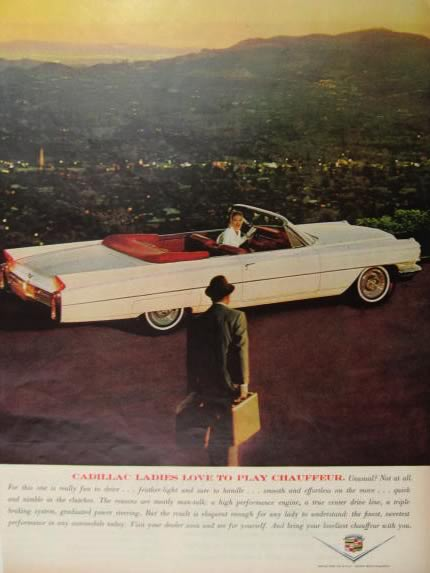 1963 Cadillac Convertible Ad ~ Ladies Play Chauffeur