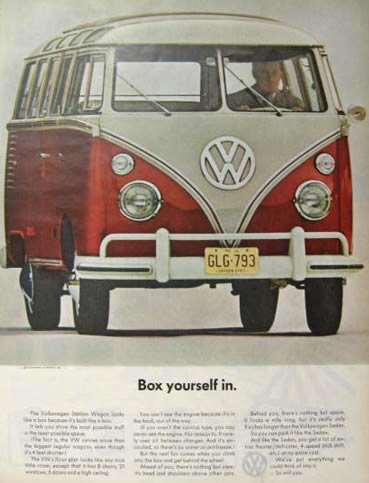 1963 Volkswagen VW Bus Ad ~ Box Yourself In