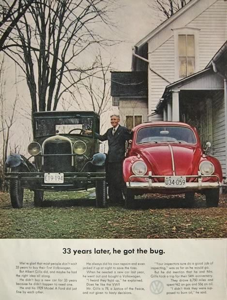 1963 Volkswagen Beetle Bug Ad ~ Model A Ford