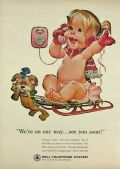 1964 Bell Telephone Ad ~ Baby on Sled